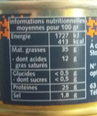 Rillettes pur canard - Nutrition facts