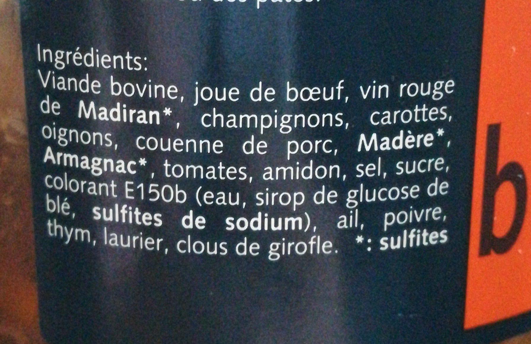 Daube béarnaise le bocal de 720 g - Ingrédients - fr
