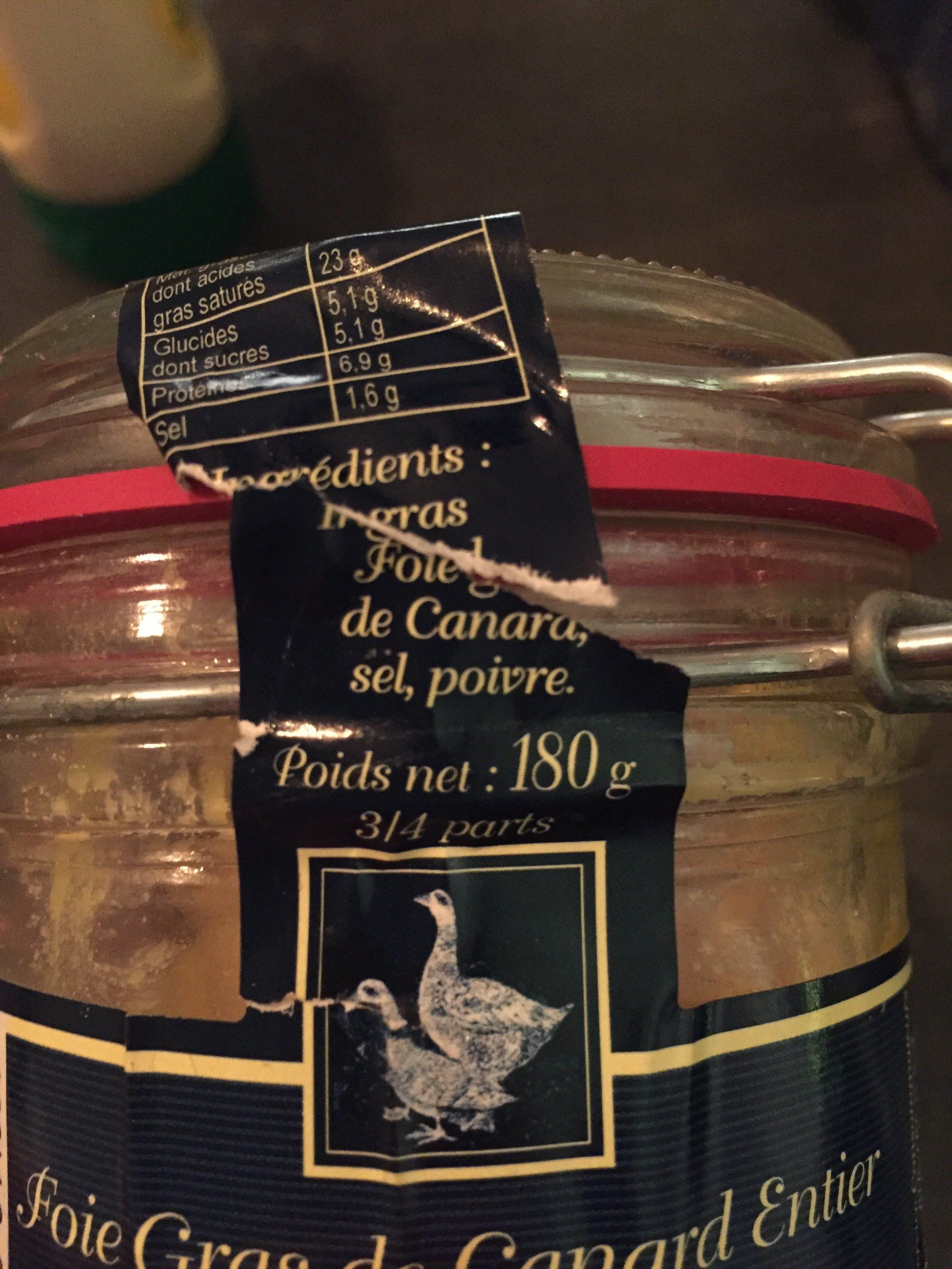 Foie gras de canard entier du Sud Ouest - Ingrédients - fr