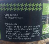 Pâté de Campagne BIO Pur Porc - Ingredients