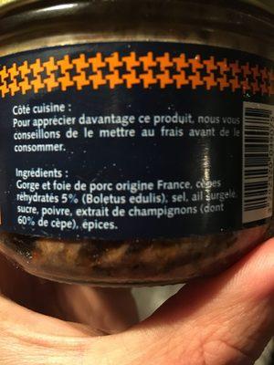Terrine aux cepes - Ingrédients - fr