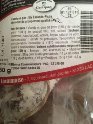 Saucisson des montagnes label rouge - Ingredients