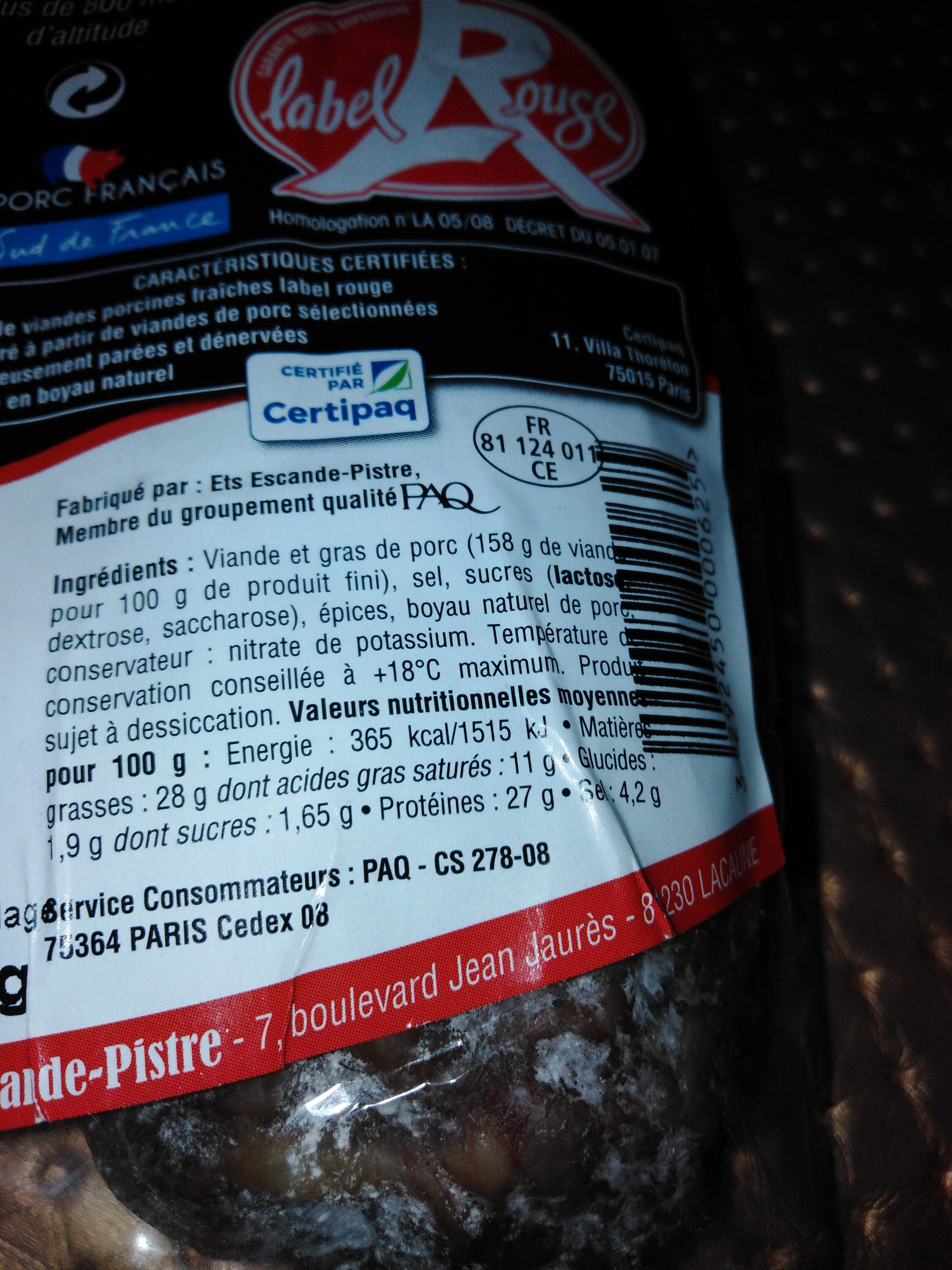 Saucisson des montagnes label rouge - Nutrition facts