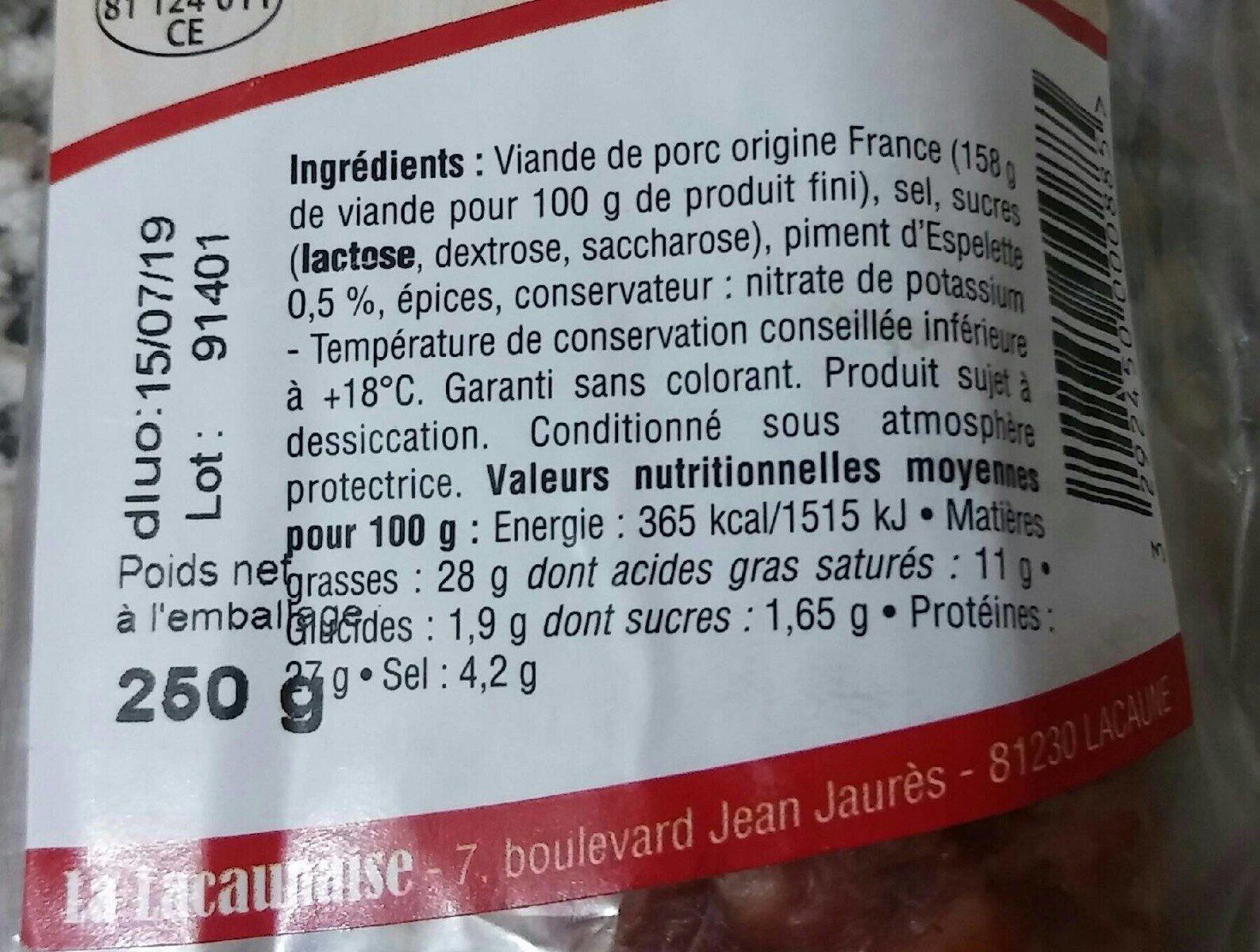 Saucisse sèche au piment d'espelette - Ingredients