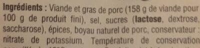 Lacaunause saucisse sèche Label Rouge - Ingredients