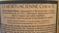 La Mortuacienne Citron - Ingrédients - fr