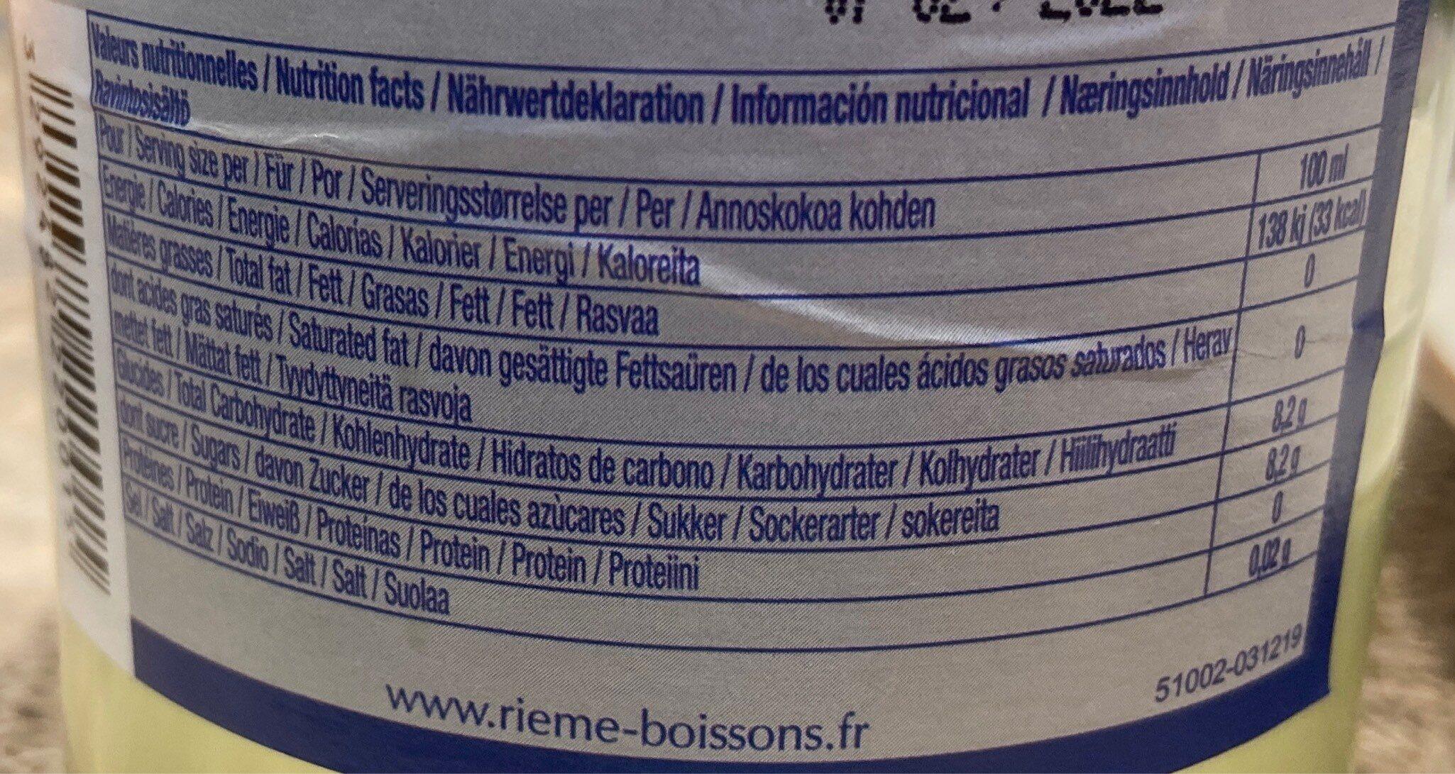 La Mortuacienne Citron - Informations nutritionnelles - fr