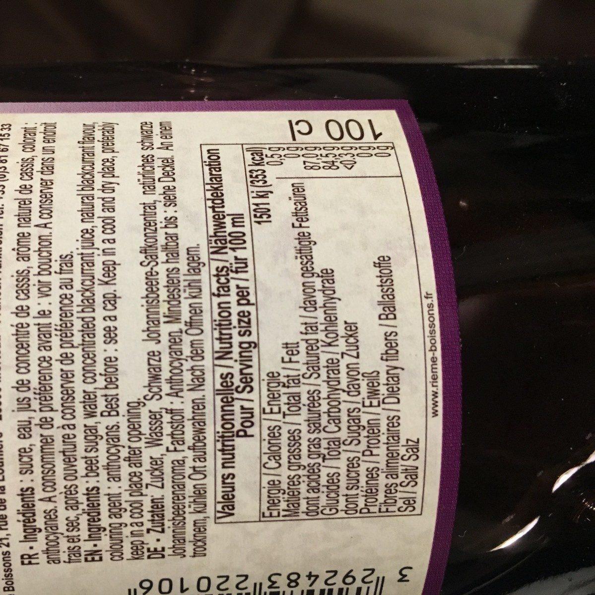 Sirop de cassis garanti pur sucre, la bouteille de - Ingredients