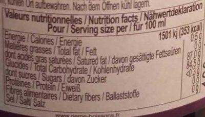 Sirop de cassis garanti pur sucre, la bouteille de - Nutrition facts