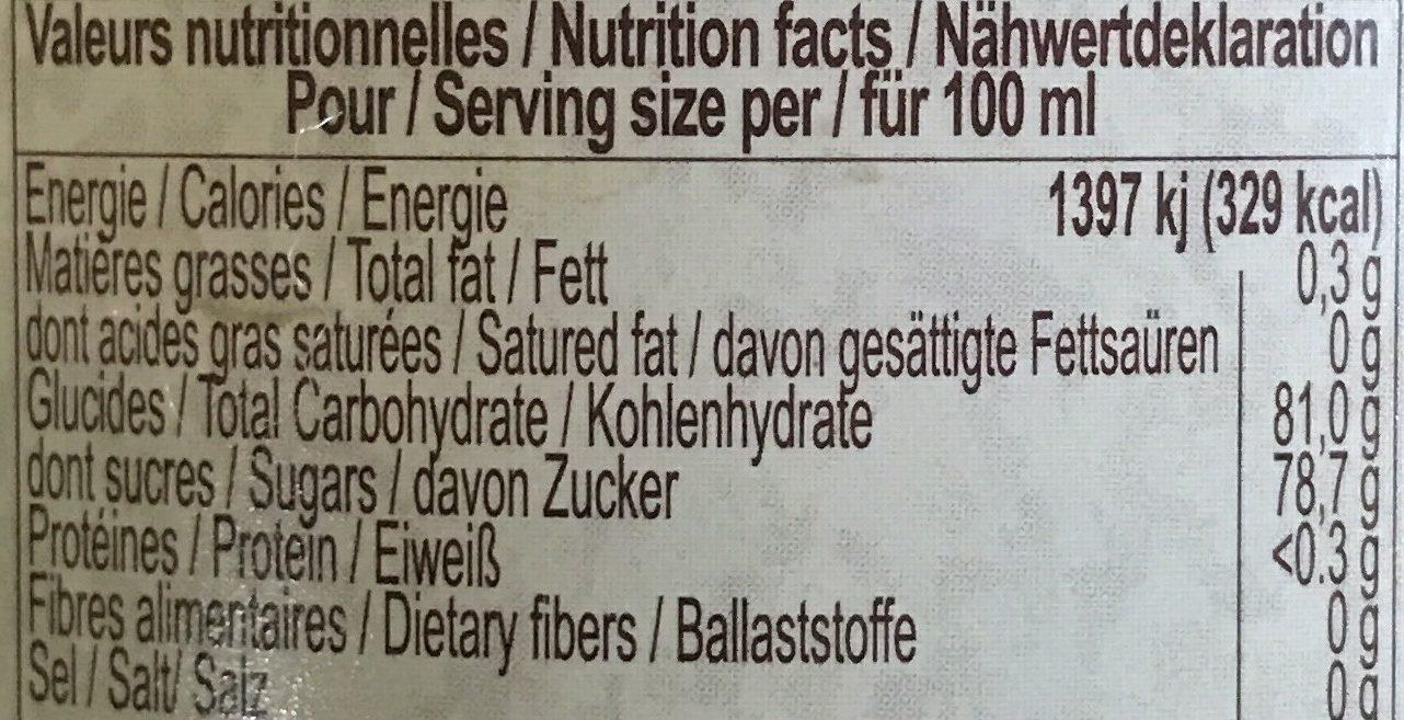 Sirop de sapin, garanti pur sucre, la bouteille de - 栄養成分表 - fr