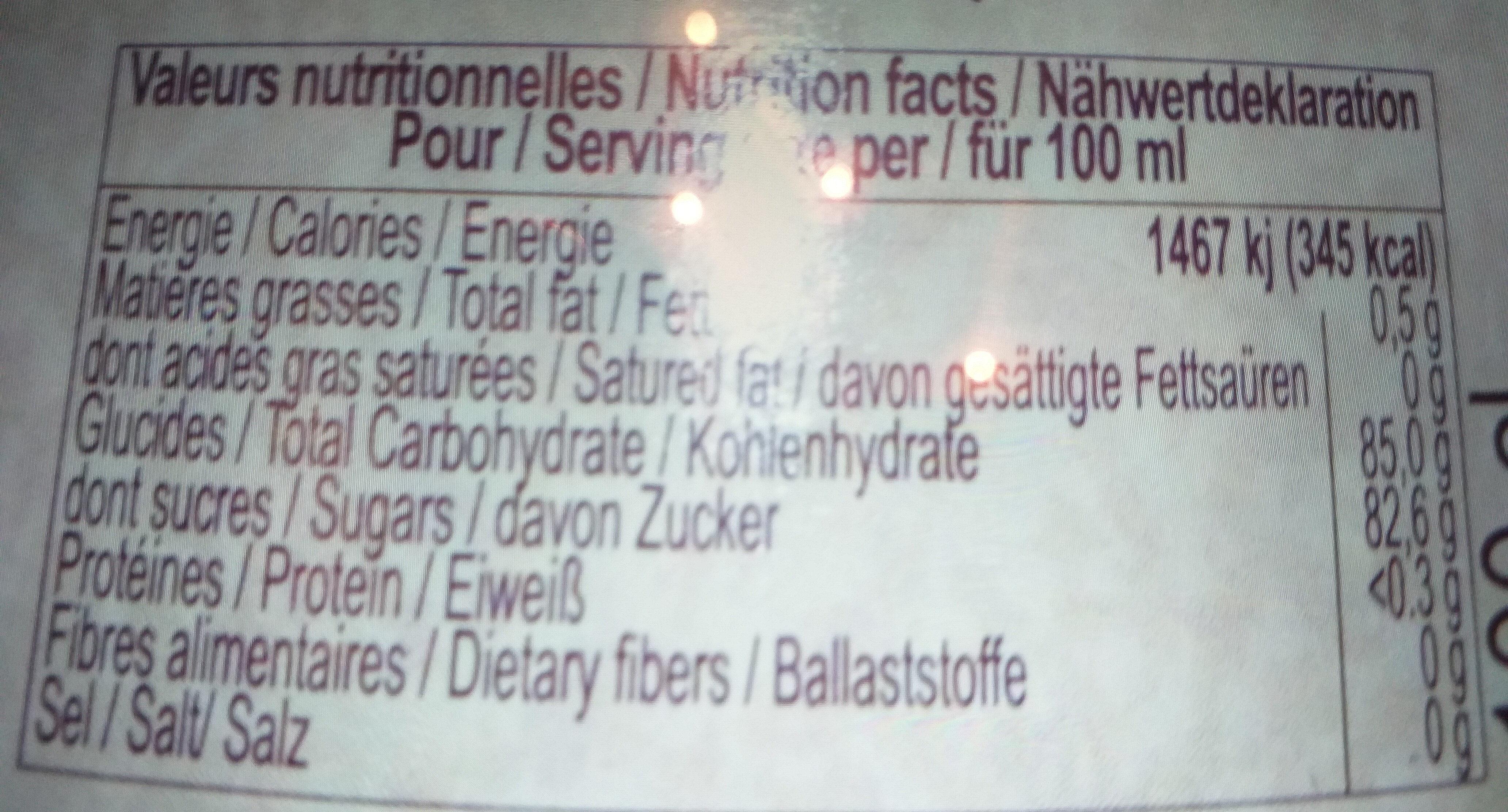 Sirop de kiwi, garanti pour sucre - Informations nutritionnelles