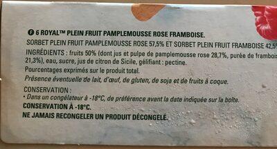 Royal plein fruits framboise et pamplemousse - Ingrediënten