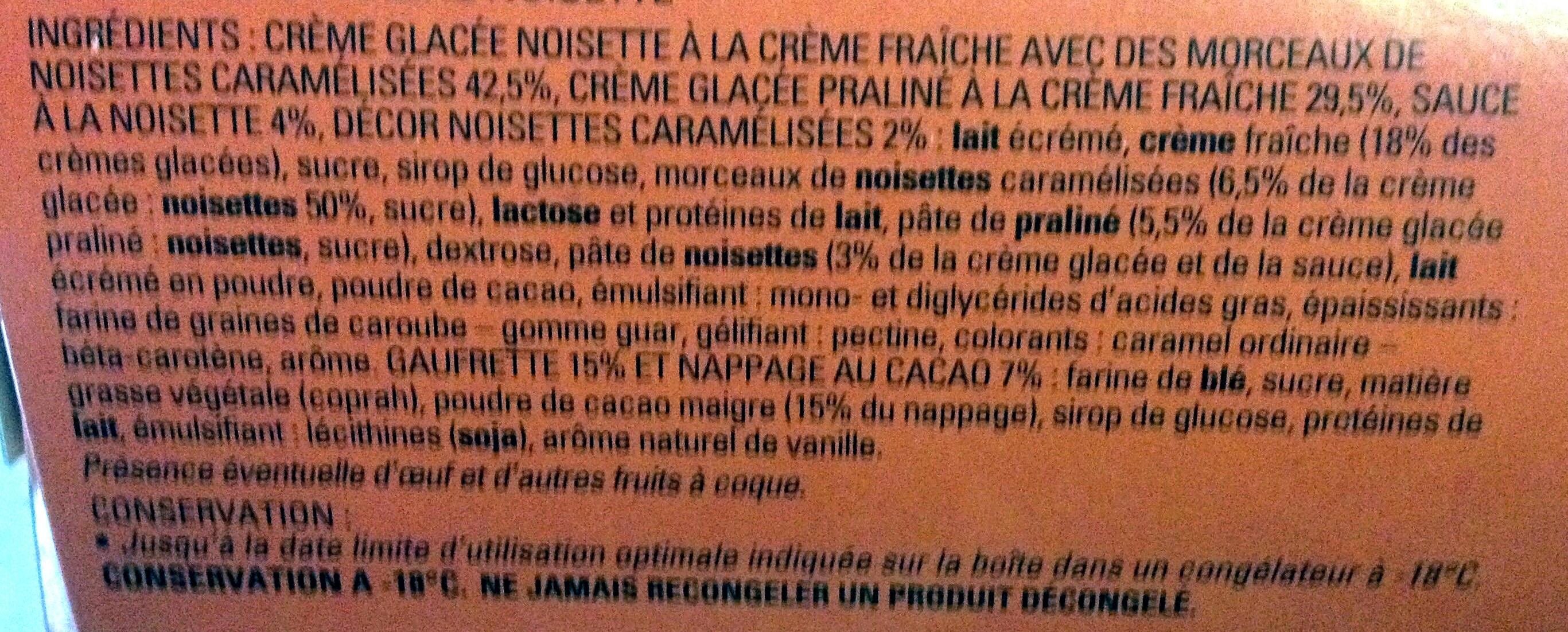 6 cornets praliné noisette - Ingrédients