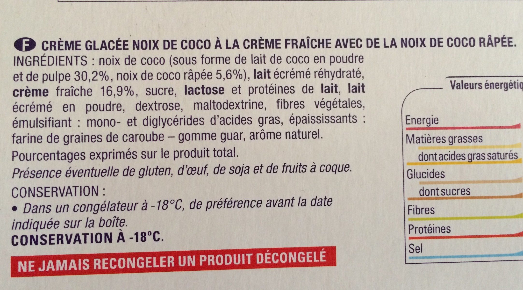 Mes 4 Noix de coco givrées - Ingredients