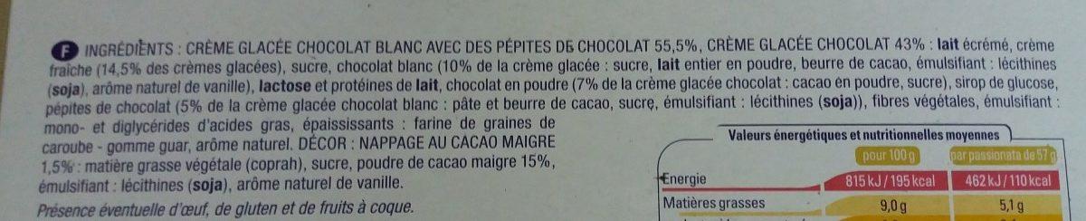 Passionata chocolat chocolat blanc - Ingrédients - fr