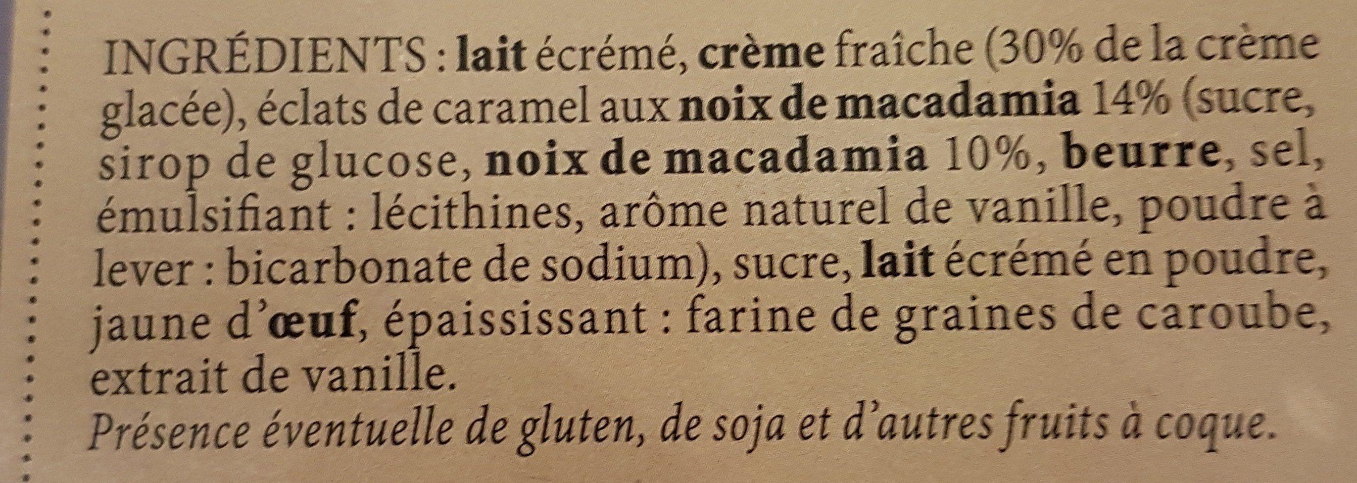 Crèmes Glacées à la Crème Fraîche Vanille Macadamia et Chocolat Brownies - Ingrediënten