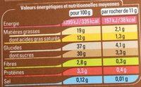 12 rochers glacés Café Arabica - Informations nutritionnelles