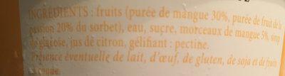 Sorbet Mangue Passion - Ingredients