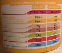Sorbet Mangue Passion - Nutrition facts - fr