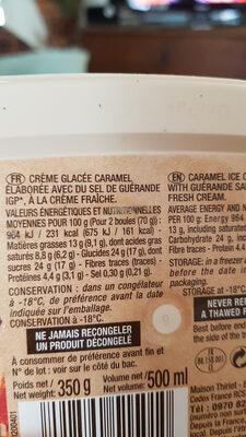 Crème glacée au caramel au sel de guérande - Ingrédients - fr