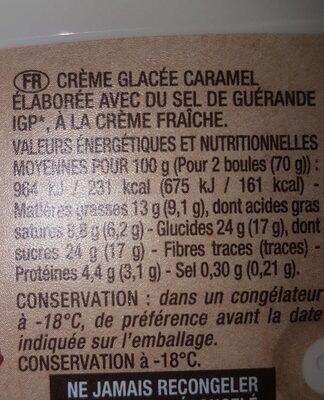 Crème glacée au caramel au sel de guérande - Informations nutritionnelles - fr