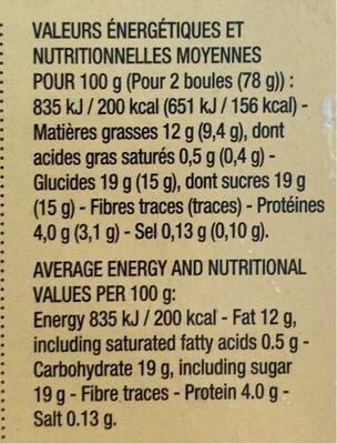 Vanille de Papouasie-Nouvelle-Guinée - Informations nutritionnelles - fr