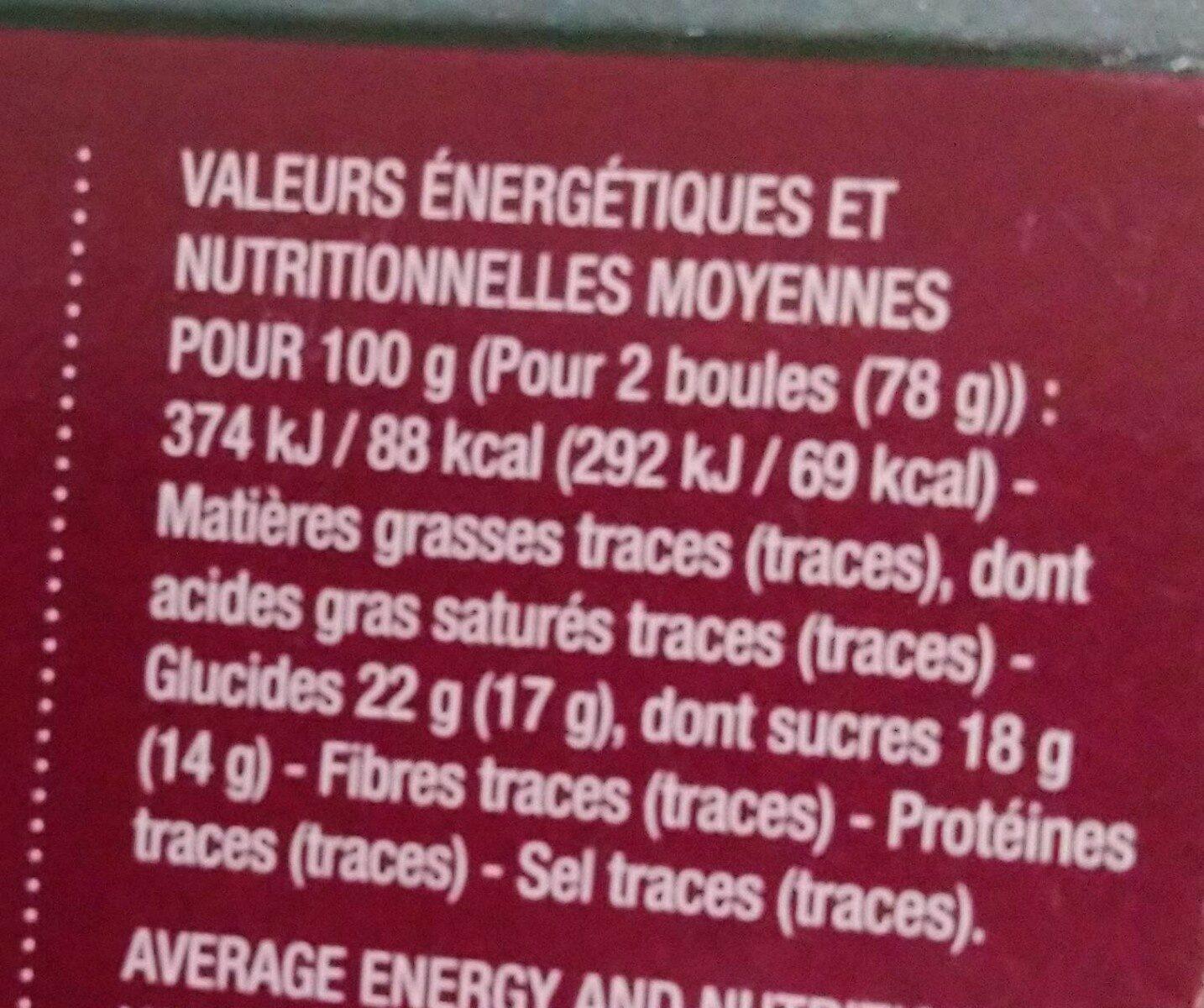Sorbet plein fruit 60% cerise noire du Gard - Nutrition facts - fr