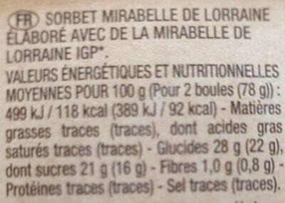 Sorbet Mirabelle de Lorraine - Nutrition facts - fr