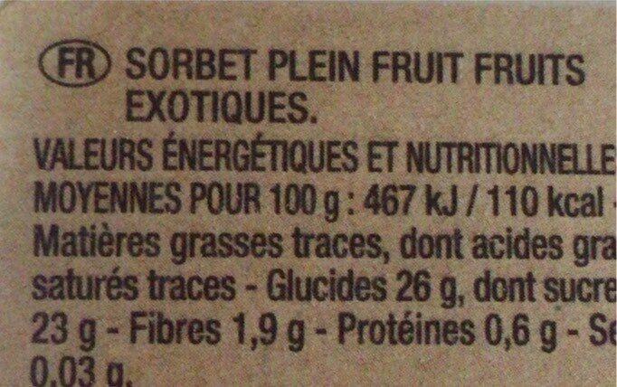 Sorbet Exotique passion Mangue Ananas - Informations nutritionnelles - fr