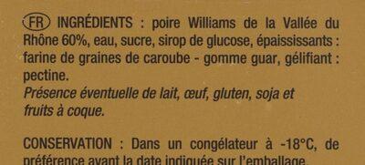 Sorbet Poire Williams de la Vallée du Rhône - Ingrédients - fr
