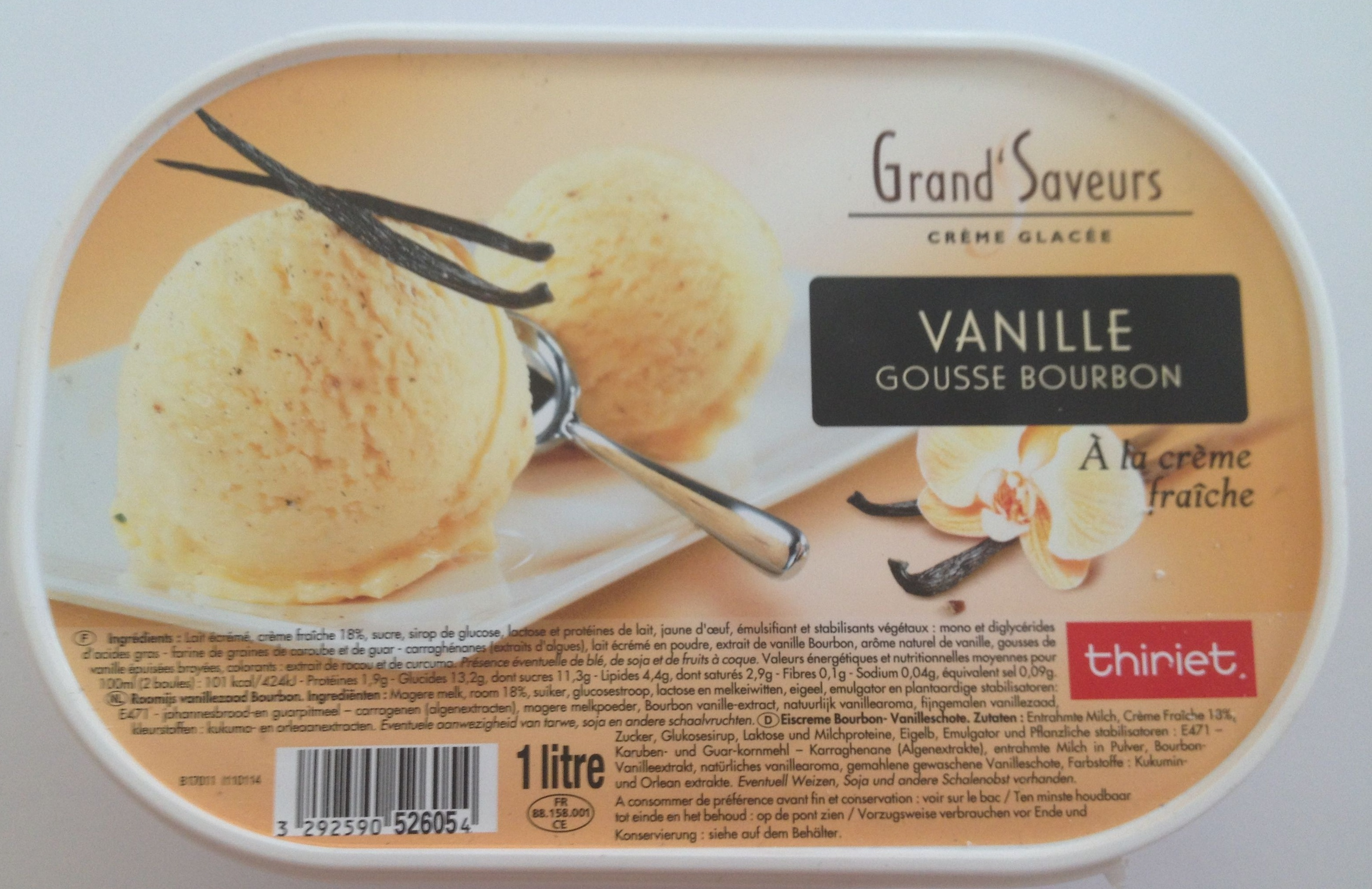 Grand' Saveurs Crème glacée Vanille Gousse Bourbon à la crème fraîche - Product