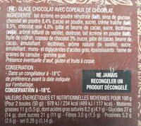 Glace chocolat acec copeaux de chocolat - Informations nutritionnelles - fr