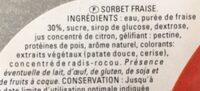 Sorbet fraise - Ingrédients