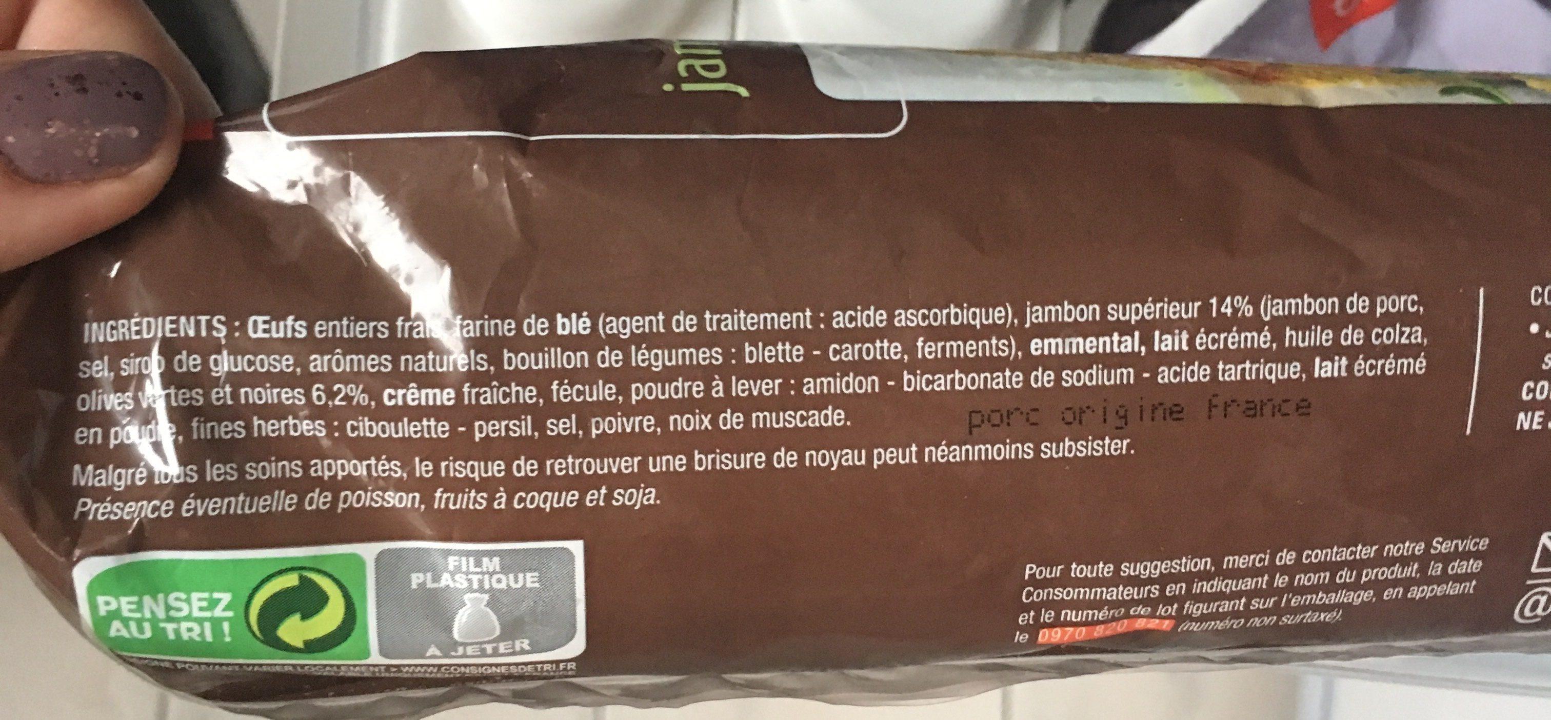 Cake Apéritif Jambon Olives - Ingrédients - fr