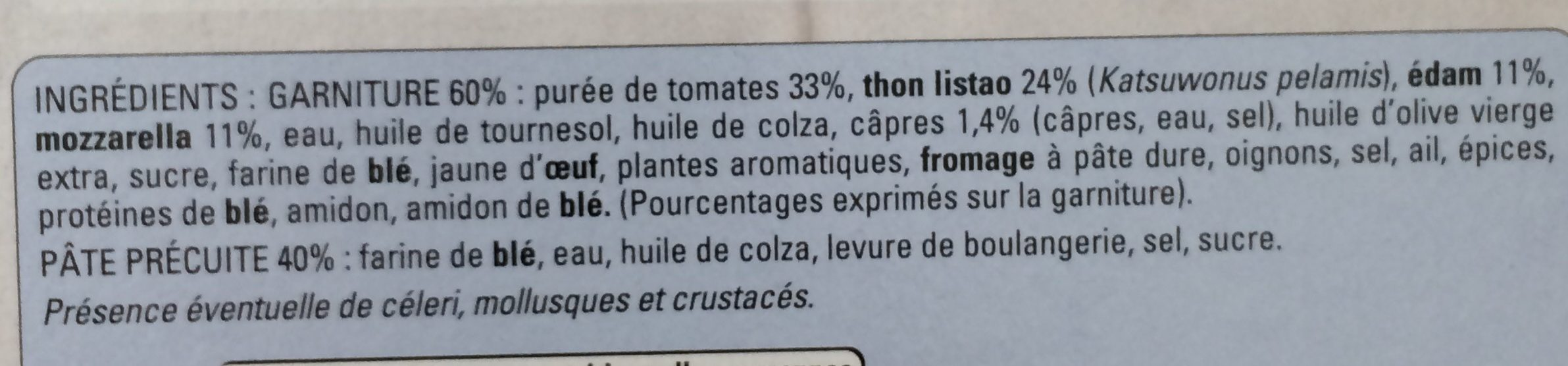 Pizza au thon - Pâte fine - Ingrédients - fr