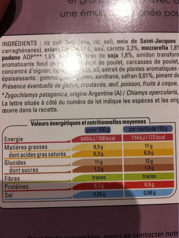 Risotti aux noix de saint-jacques - Nutrition facts
