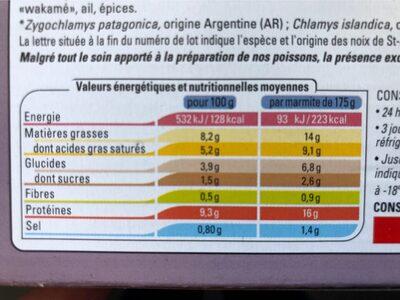 2 Marmites du Pêcheur - Informations nutritionnelles