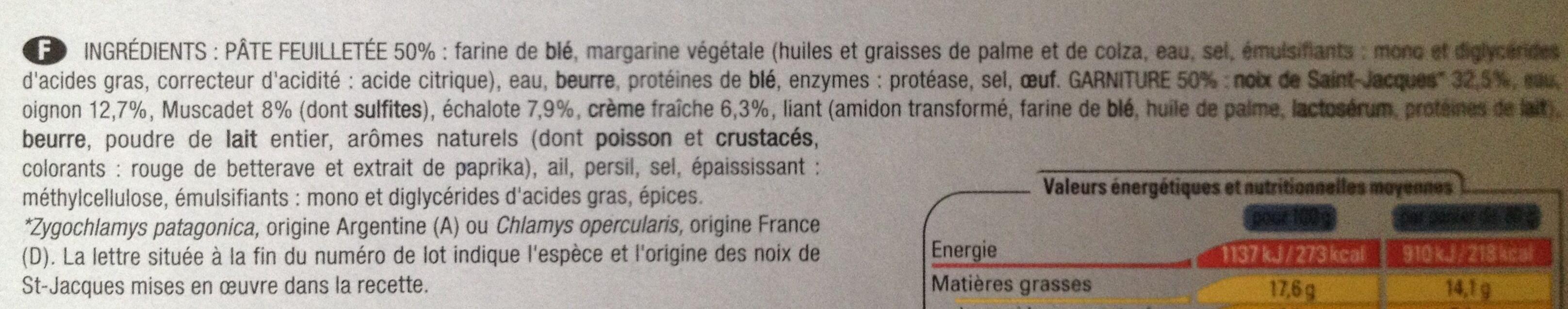 4 paniers Noix de Saint-Jacques* à la Bretonne, Surgelé - Ingrédients - fr