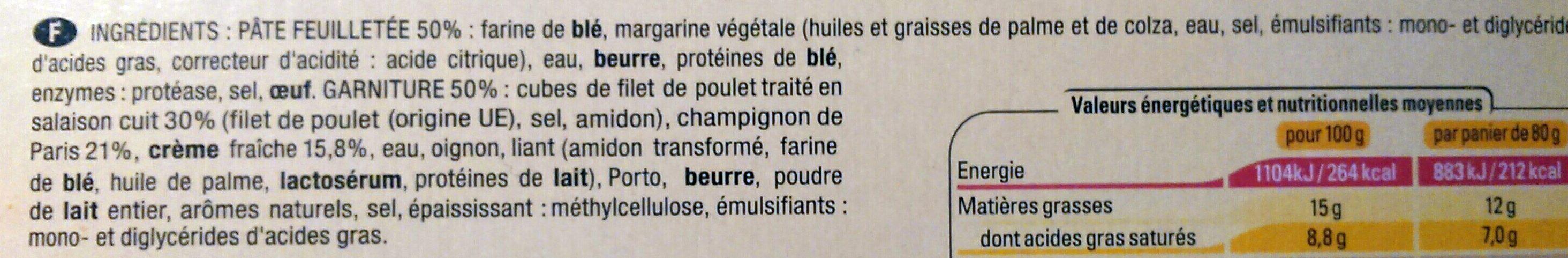 8 Paniers Poulet Champignons - Ingrédients