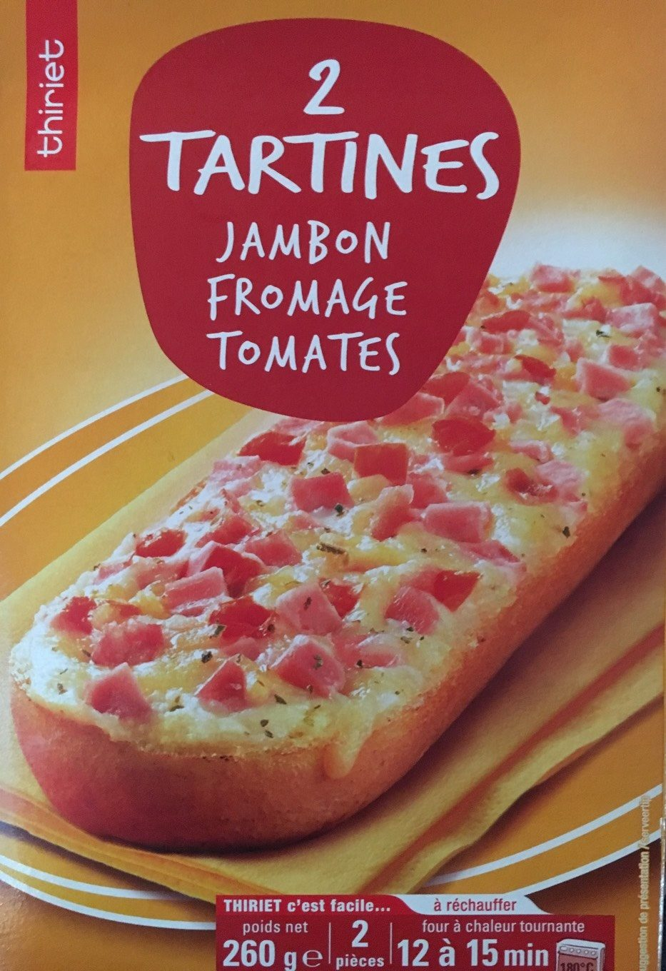 2 Tartines Jambon Fromage Tomates - Informations nutritionnelles