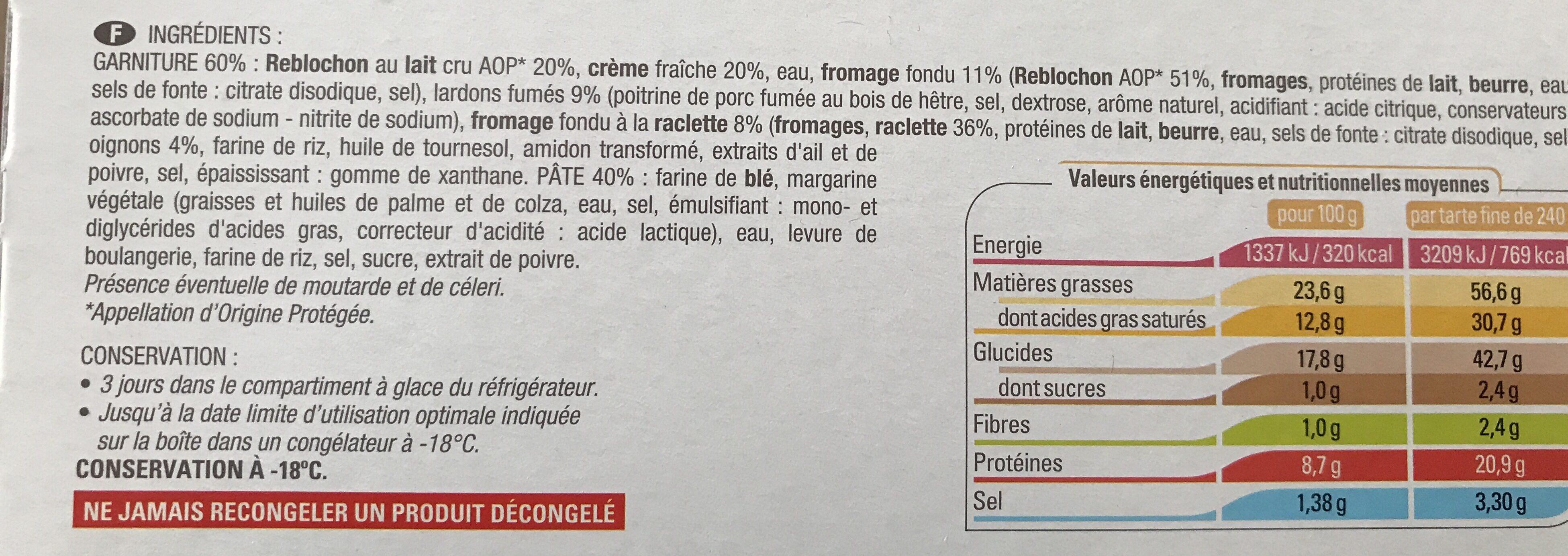 Tartes fines reblochon lardons - Ingrédients - fr