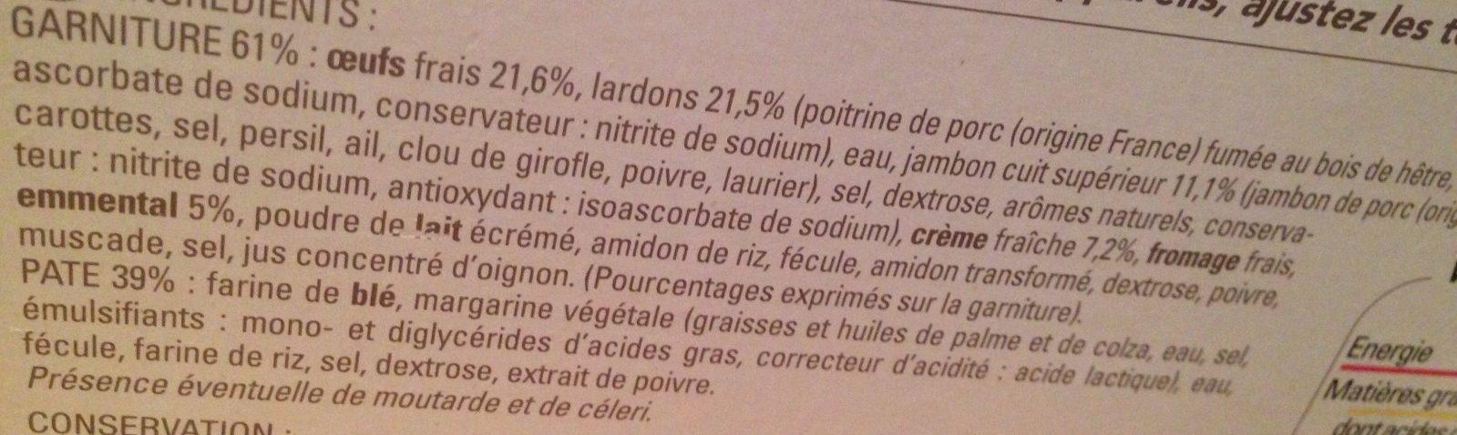 12 Quiches Lorraines - Ingrédients