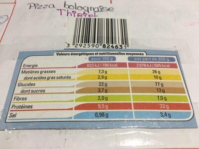 Pizza Bolognaise Cuite Sur Pierre 700g - Ingredients
