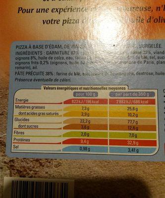 Pizza Bolognaise Cuite Sur Pierre 700g - Nutrition facts