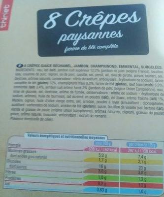 Crêpes paysannes - Nutrition facts
