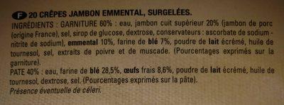 20 Crêpes Jambon Fromage - Ingredients - fr