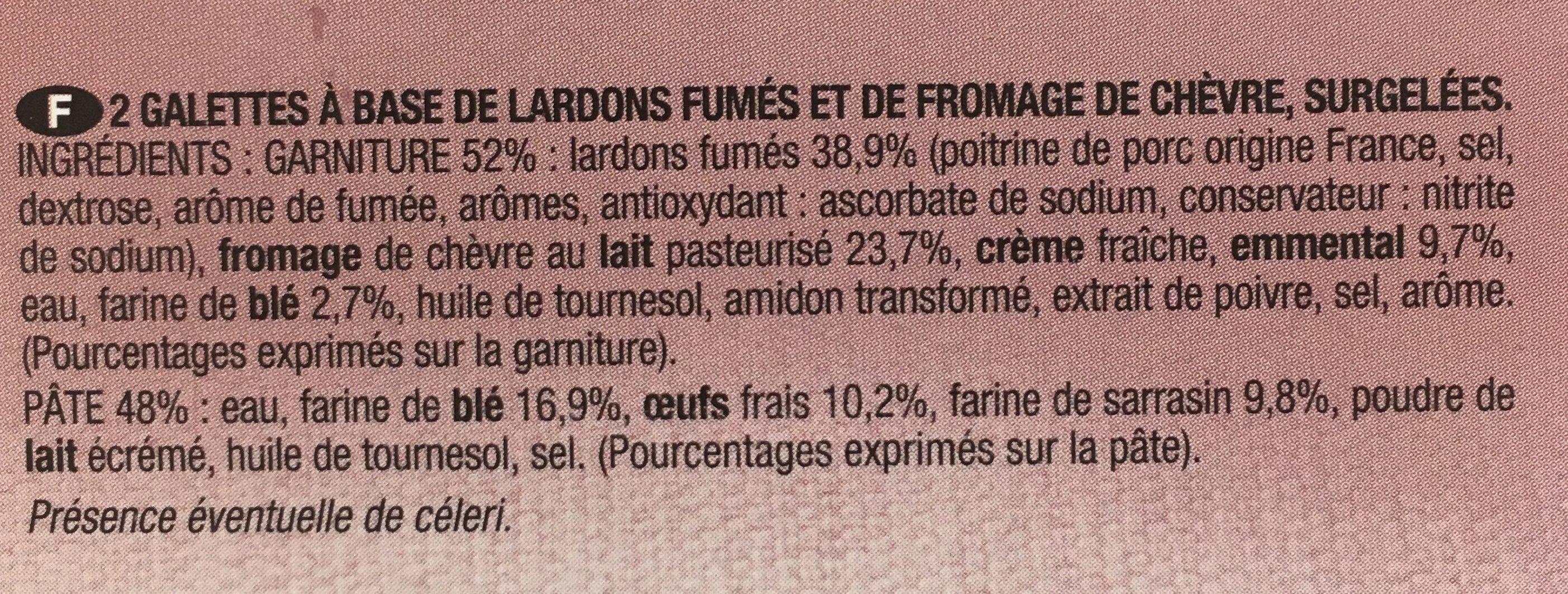 2 galettes lardons chèvre - Ingredients - fr
