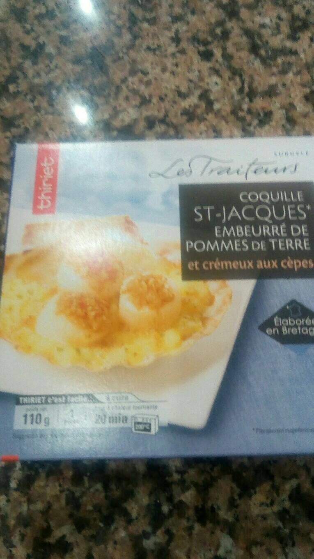 Coquille st Jacques empruntée de pommes de terre et crémeux aux cèpes - Product - fr