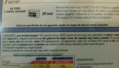 Coquille st Jacques empruntée de pommes de terre et crémeux aux cèpes - Ingrediënten - fr