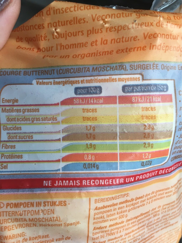 Potiron en cubes - Informations nutritionnelles - fr